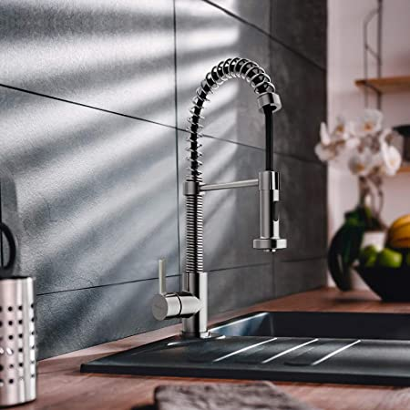 Industrial Kitchen Faucet With Sprayer Cupc Certified Kopais Commercial Single Handle High Arc Spring Brushed Nickel Sink Faucets Support 1 Or 3