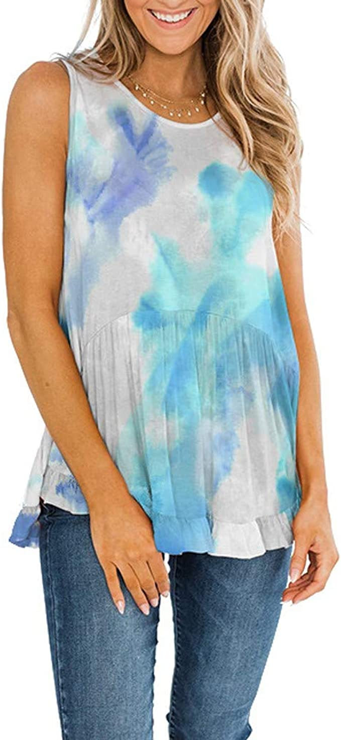 FIRERO Womens Summer Tie-Dye Ruffle Short Sleeve High Low Casual Loose Shirt Blouse