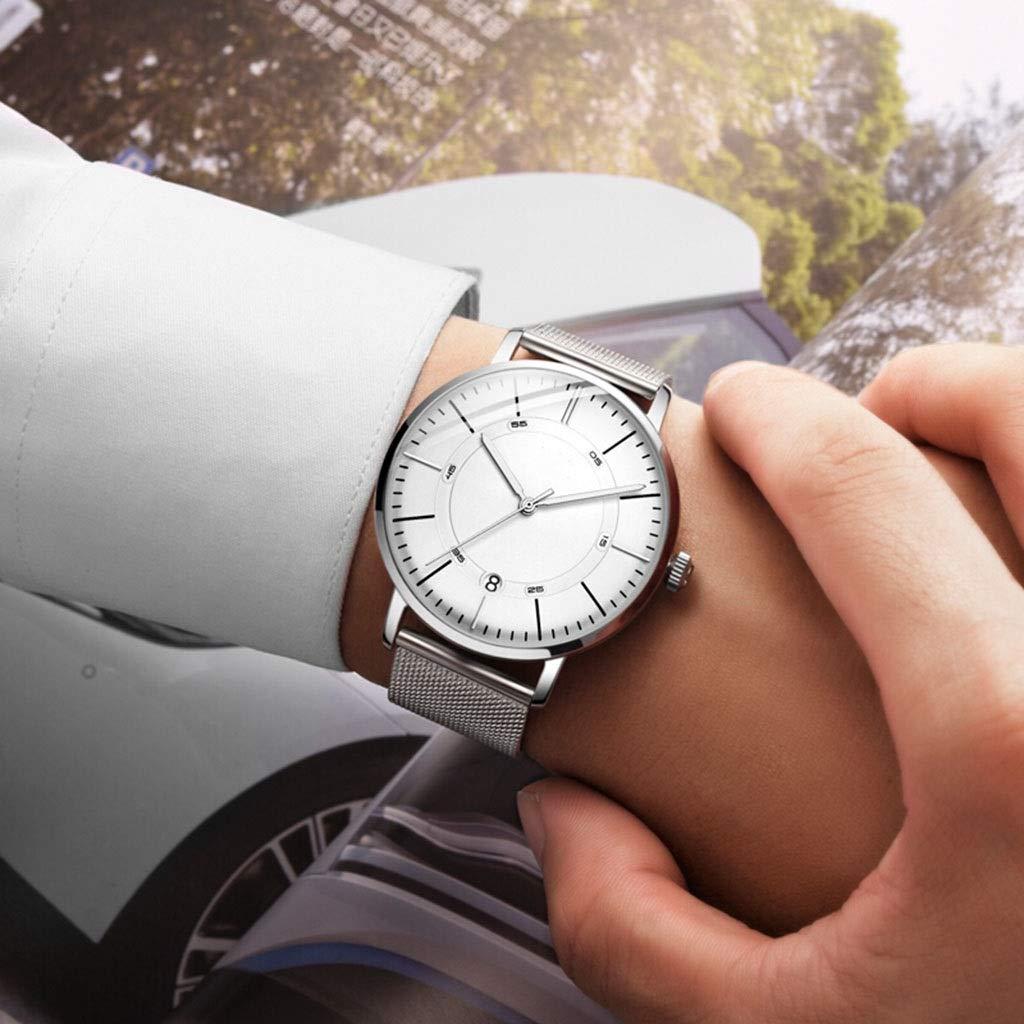 Klockor herrklocka kvarts sport vardaglig enkel mode vattentät klocka silver metall nätbälte wtr (färg: A) a