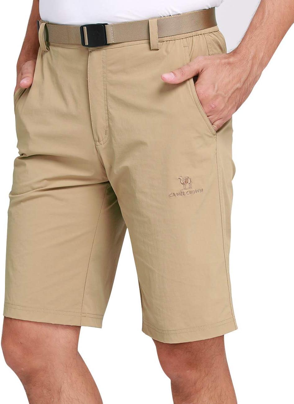 CAMEL CROWN Pantalones Cortos Cargo Hombres Ligeros Pantalones Cortos de Secado R/ápido con El/ástica Cintura para Ocio Viaje Senderismo Ciclismo Exteriores