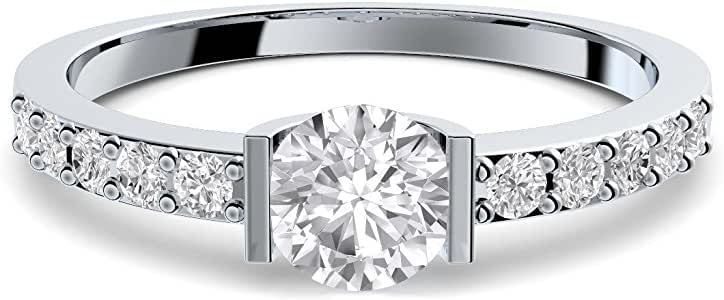 Compromiso anillos con circonita + estuche! Anillo de compromiso matrimonio idea petición boda idea Anillo de plata Anillo Plata 925 circonios tales como el diamante Mujer - FF204 SS925ZIFAZIFA