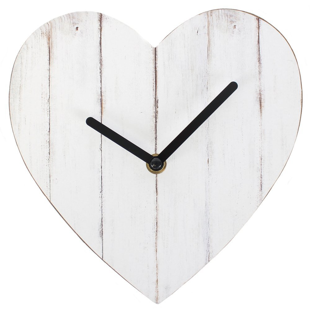 Something Different Horloge en MDF en Forme de c/œur Style Shabby Chic Blanc