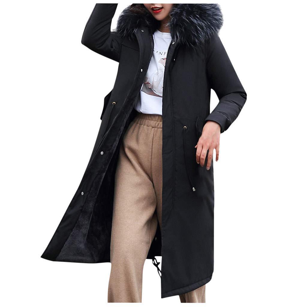 Allywit- Women Outerwear Faux Fur Hooded Button Coat with Pocket Long Solid Warm Jackets Windbreaker Coats Black by Allywit- Women