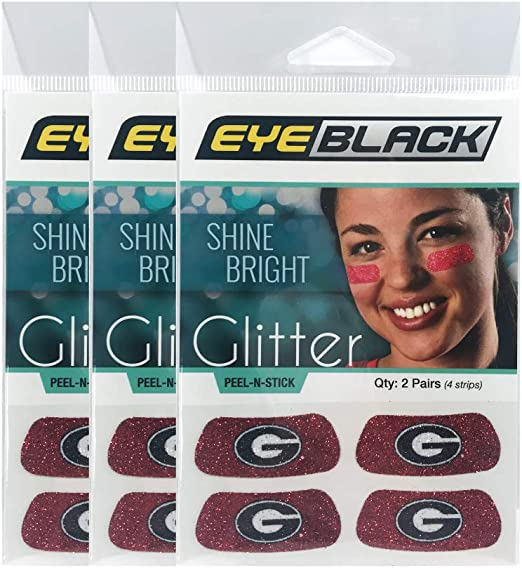 Perfect for Game Day and Tailgate EyeBlack Georgia Bulldogs NCAA Glitter Strips 2 Pair