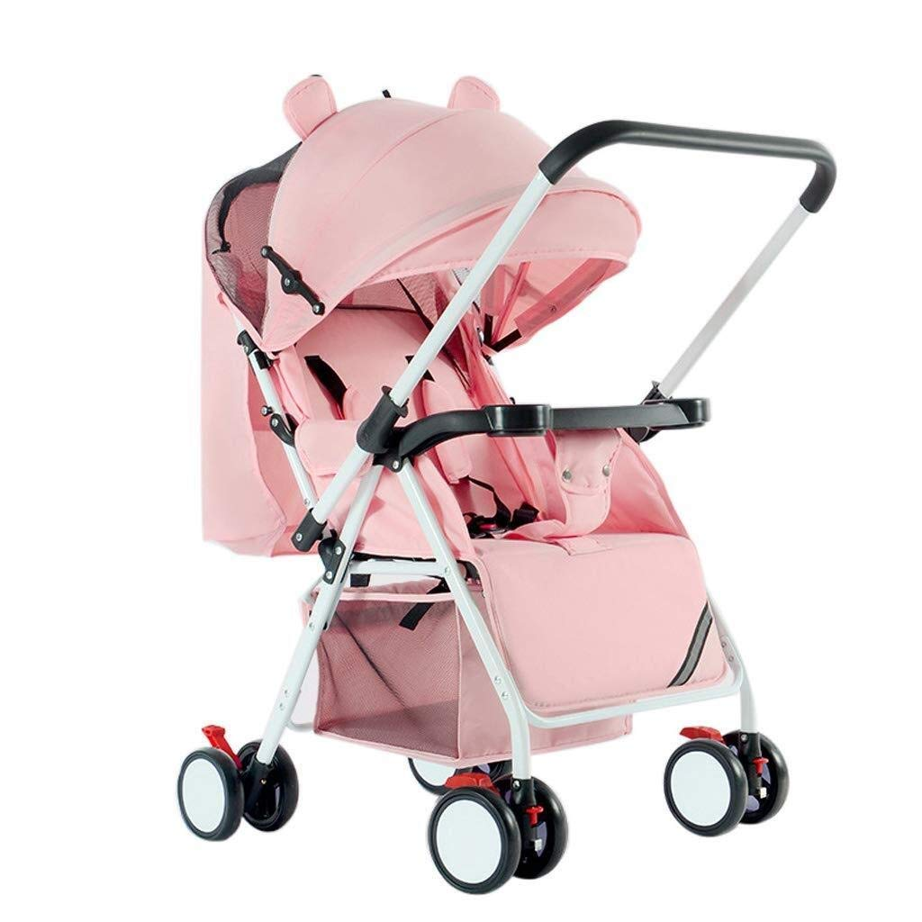 WDOPZMS Baby Stroller for Children - Lightweight Foldable Baby Pushchair Pram Jogger Travel System Lockable Wheels & Spacious Adjustable Hood & Foot Warmer, Two-Way (Color : Pink)