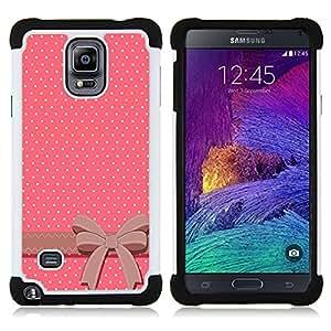 - dot bow tie pink white pattern/ H??brido 3in1 Deluxe Impreso duro Soft Alto Impacto caja de la armadura Defender - SHIMIN CAO - For Samsung Galaxy Note 4 SM-N910 N910