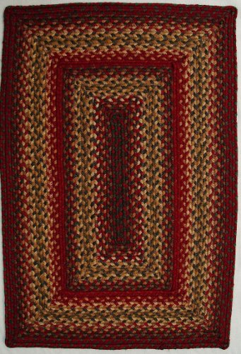 """Homespice Decor Braided Rectangle Area Rug 2'3""""x3'9"""" Red-Gold Cider Barn Collection"""