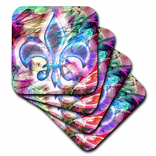 3dRose Fleur De Lis Abstract Art - Ceramic Tile Coasters, set of 4 ()