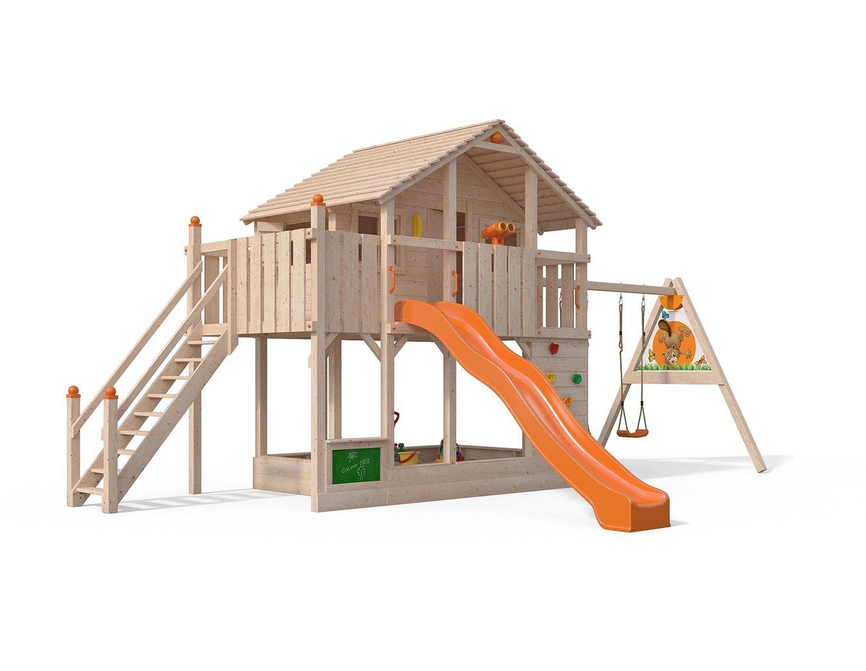 ISIDOR Centurio Spielturm Baumhaus Schaukel Kletterturm Rutsche 1,5 m Podest (blau, erWeißerter Anbau) Orange einfacher Anbau