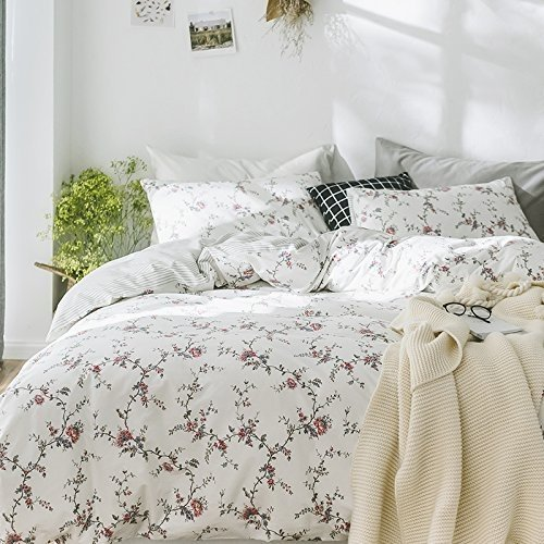 Cottage Country Style 3 Piece Duvet Cover Set Multicolored Roses Peonies Bouquet 100-percent Cotton Shabby Chic Reversible Floral Bedding (Queen, White) by Eikei