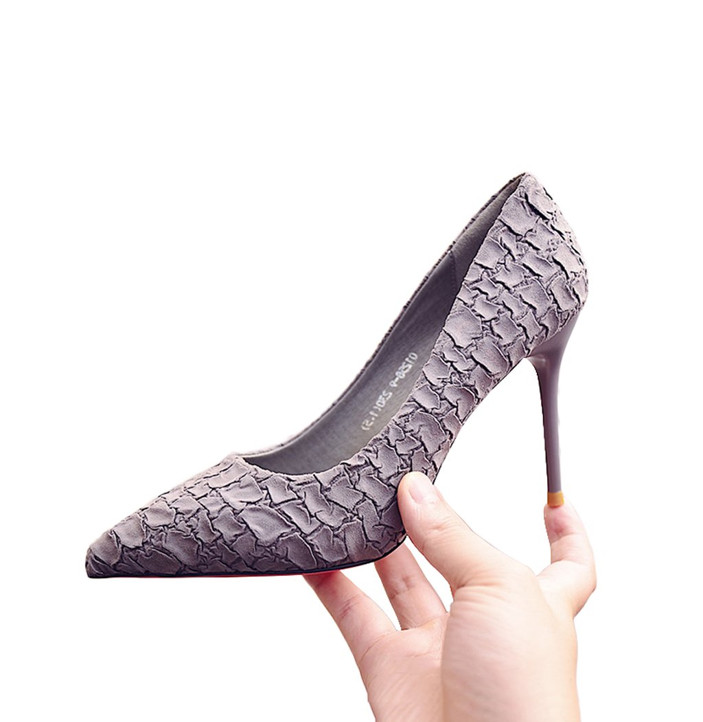Feminine Shallow Mouth Pointed-toe High Heels Elegant Sexy Stone Pattern Suede Shoes Black 9cm Wedding Shoes (Color : Gray, Size : 35)