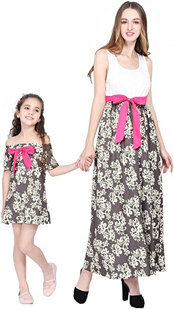 Mother Daughter Dress Matching Outfit Striped Design Kids Child Baby Girl Gift