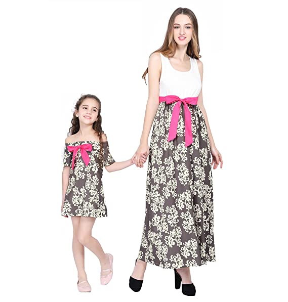 ebc37e09d8a Mommy and Daughter Dress Summer Floral Dress Family Clothing Mother Me  Parent-Child Outfits (