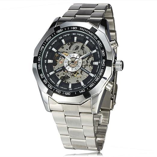 Winner New número diseño deportivo bisel plateado reloj para hombre relojes primera marca de lujo Montre Homme reloj hombre automático reloj de esqueleto: ...