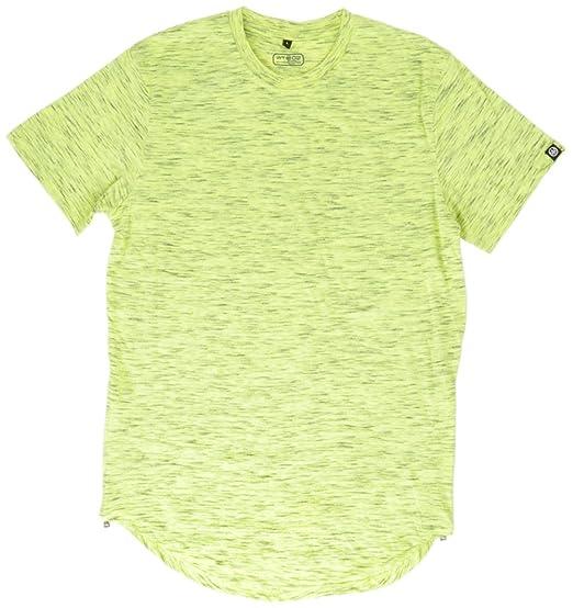 dcd929d06fe1 WT02 Men's Basic Short Sleeve Scallop Long Length Tee with Side Zippers |  Amazon.com