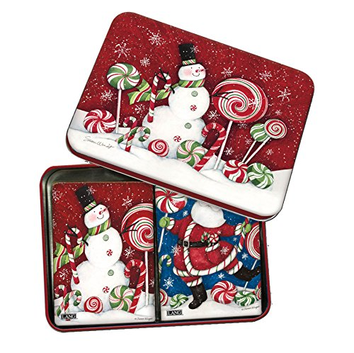 LANG - Playing Cards in Decorative Tin - Peppermint Christmas - Art by Susan Winget- set of 2 decks
