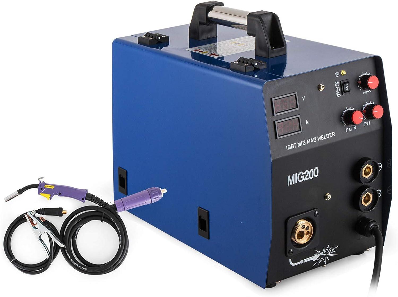 VEVOR MIG/MAG MMA Máquina de Soldadura 200 A, Soldadora de Arco 240 V / 50 Hz, Soldadura por Puntos, Soldador por Puntos, Máquinas de Soldar, Soldadura de Puntos Multifuncional, Alto Rendimiento