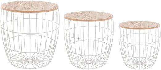 Lote de 3 mesas bajas nido + cofres de almacenaje – estilo ...