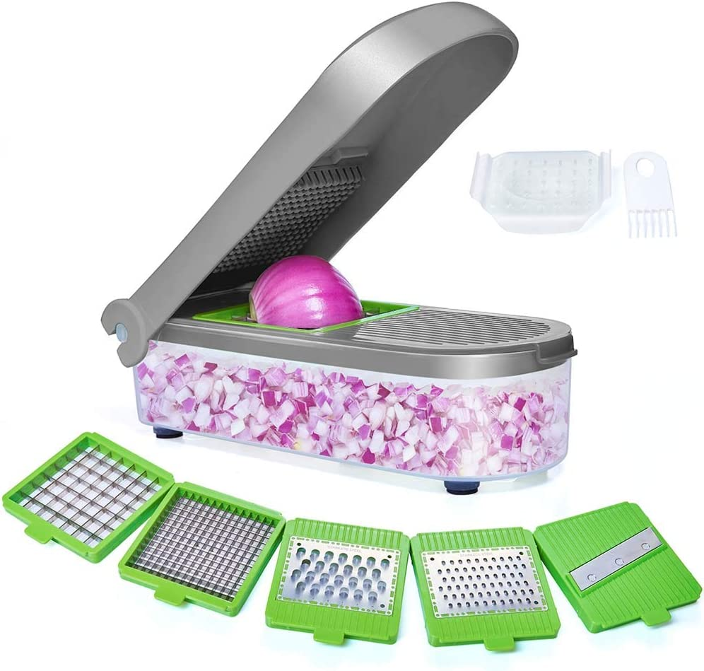 LHS Vegetable Chopper, Pro Onion Chopper Slicer Dicer Cutter - Cheese & Veggie Chopper - Food Chopper Dicer with 5 Blades (Gray)