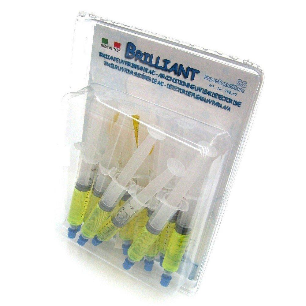 Tracciante UV BRILLIANT fluorescente - 12 cartucce da 7, 5 ML - per rintracciare perdite SUPERSAMASTORE
