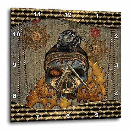 3dRose Heike Köhnen Design Steampunk – Steampunk, steampunk skull with steampunk rat – Wall Clocks
