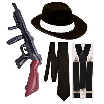 Gangster Fancy Dress 4 Pieza Disfraz (Negro): Amazon.es ...