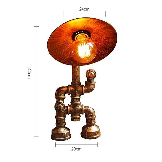 Yxsd Tubo Steampunk lámpara de Mesa Vintage Hierro Forjado Cafe ...
