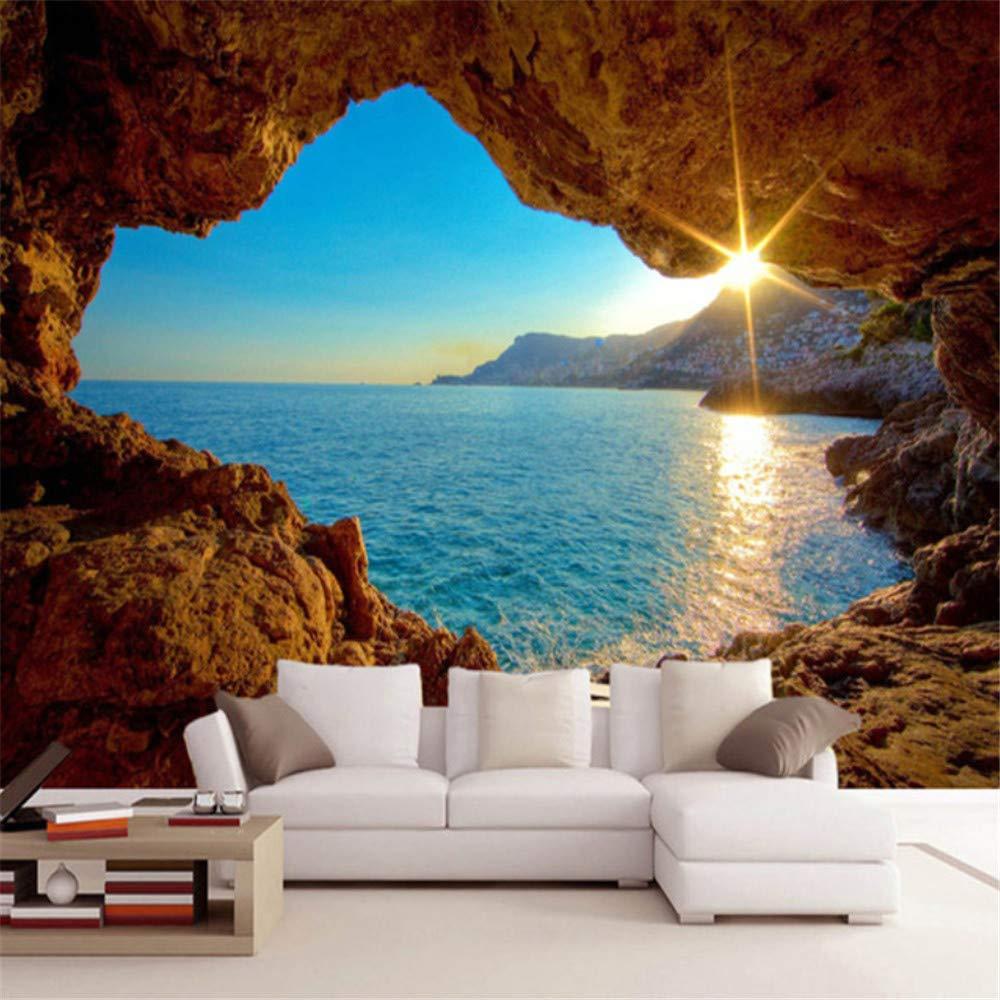hwhz Custom Mural Wallpaper 3D Stereo Seaside Landscape Reef Cave Fresco Living Room Bedroom Space Expansion Background Wall Paper 3D-350X250Cm