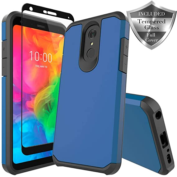more photos f8fda b0d41 LG Q7 Case, LG Q7 Plus Case, SWODERS Heavy Duty Hybrid Armor Shockproof  Anti Slip with Tempered Glass Screen Protector Case for LG Q7+ / LG Q7 Plus  - ...