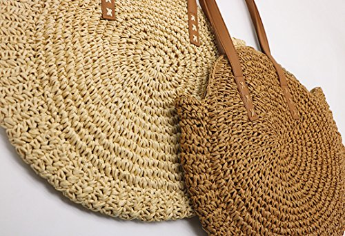 Shoulder Beach Summer Purse Khaki Top Women Round Handbags Straw Handle EtqHH