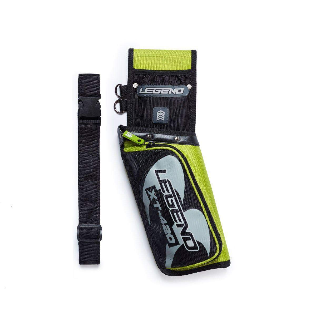 Legend Archery Field Quiver for Arrows with Multi-Pocket Nylon Belt Hip Arrow Holder Lightweight and Functional XT420 (Green/Right)