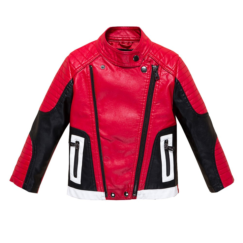 Budermmy Boys Leather Motorcycle Pilot Jackets Toddler Coats Red Size 3T