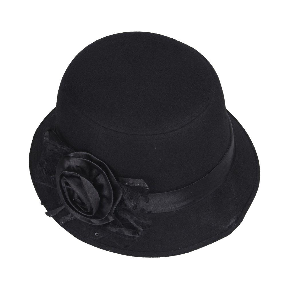 La vogue-Cappello di Cotone e Poliestere Cappello a Cilindro Donna Berretto  con Fiore ( 4 Marrone)  Amazon.it  Sport e tempo libero a4532f9b7bdc