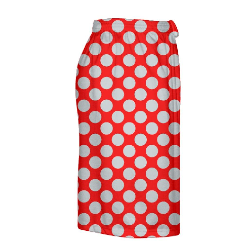 Mens Lacrosse Short Youth Boys Lacrosse Shorts Red Youth Red Silver Polka Dot Shorts