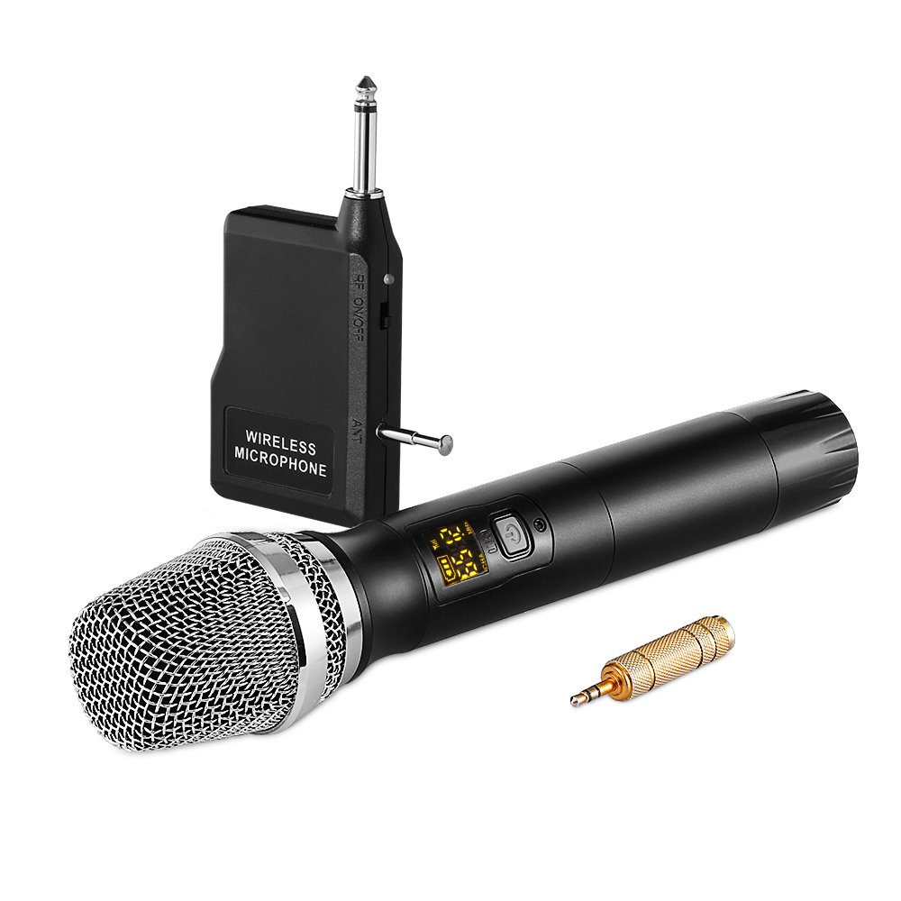 Archeer 48 Channel UHF Wireless Microphone with Mini Portable Receiver 1/4'' Output and 1/8'' Adapter, Handheld Dynamic Microphone System Singing Machine for Karaoke, Church, Business Meeting,Stage