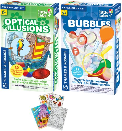 Thames & Kosmos Little Labs Optical Illusions and Bubbles Science Kits with Coloring Book