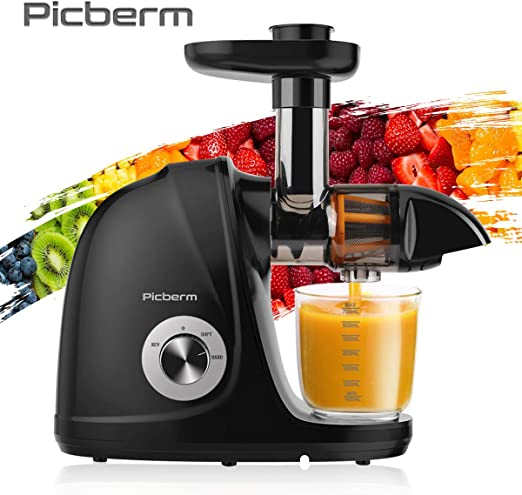 Juicer Machine, Picberm PB2110A Slow Masticating Juicer for Nutrients Preservation Anti Clogging Easy to Clean, Quiet Motor Cold Press Extractor with