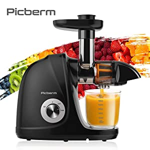 Juicer Machines, Picberm Slow Masticating Juicer Extractor with Quiet Motor Easy to Clean, BPA-Free Cold Press Anti-Blocking Juicer with Peeler, Brush & Recipes for Fruits and Vegetables, Black