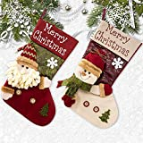 Christmas Stocking Santa, Snowman, Reindeer, Xmas Character 3D Plush Faux Fur Cuff Christmas Decorations Party (2Pack)
