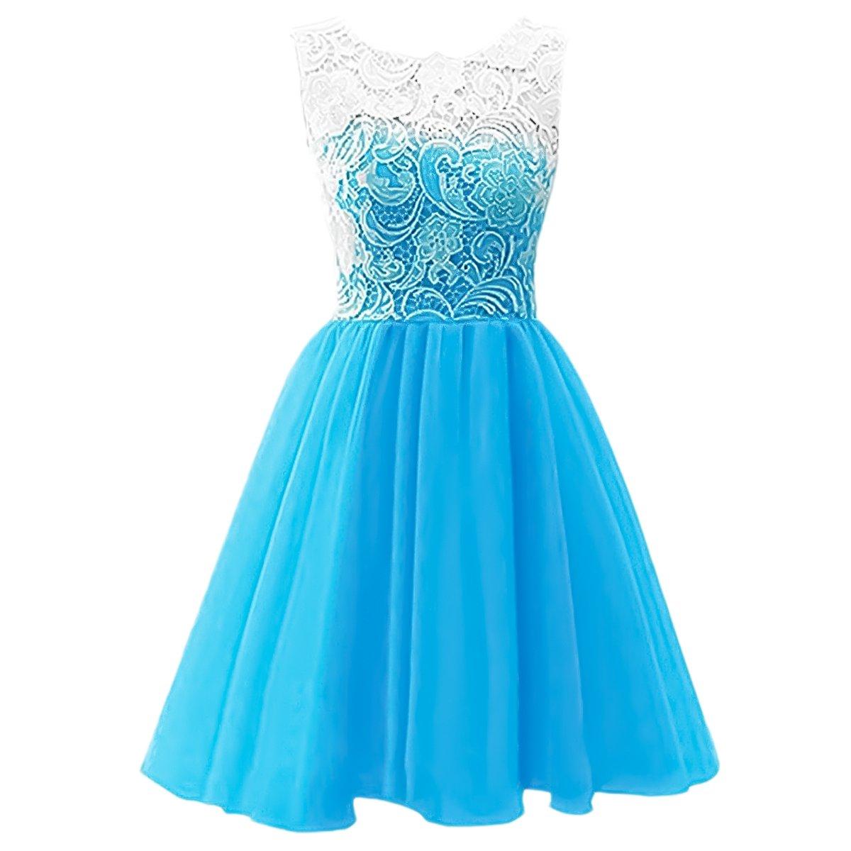 IBTOM CASTLE Big Girls' Chiffon Princess Juniors Bridesmaid Lace Summer Wedding Gown Party Flower Dress Blue 10-11 Years