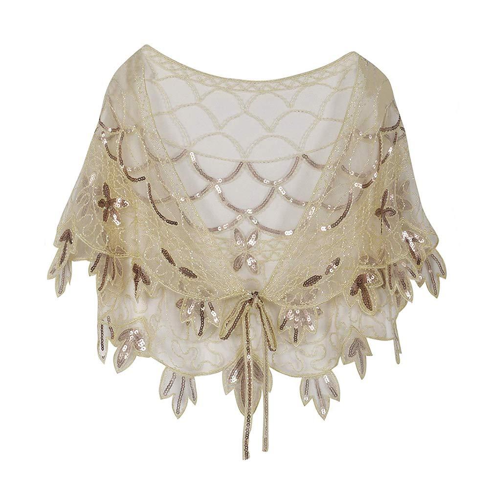 Zhhlaixing Donne 1920 Scialle Perline con Paillettes Art Deco Sera Cape Impacchi Nuziali Cover Up Nozze Festa