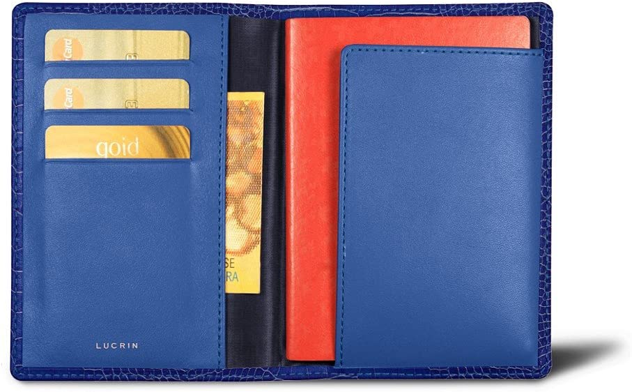 Lucrin - パスポートと忠誠カードホルダー - クロコダイルスタイルカーフスキン ブルー PM1137_CRO_BLR