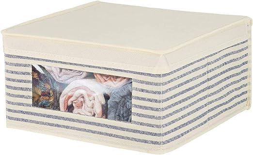 mDesign Caja de Tela apilable para Guardar Ropa o sábanas – Caja ...