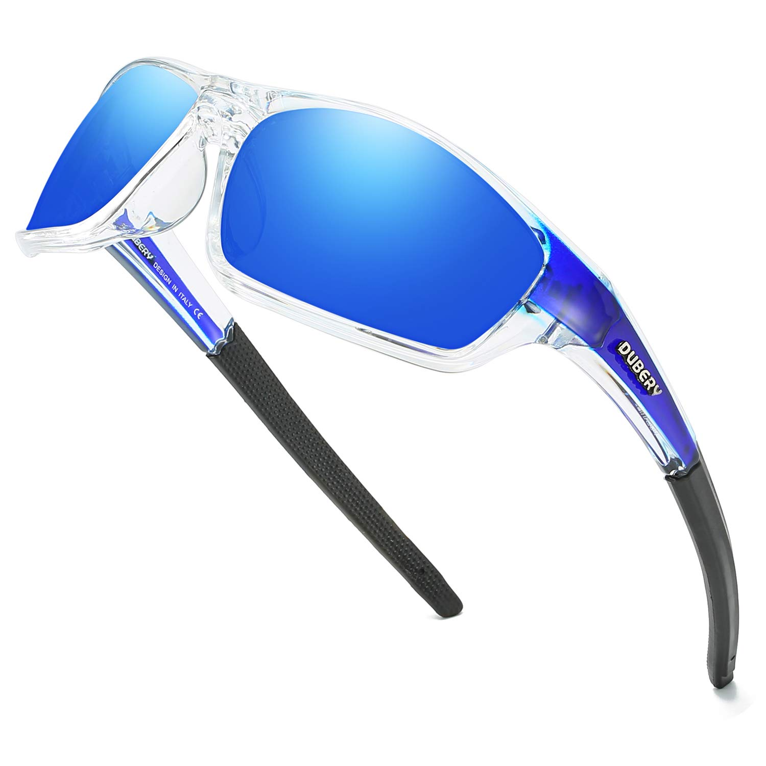 DUBERY Sport Polarized Sunglasses for Men UV Protection Driving Fishing Sun Glasses D620, Blue/Blue by DUBERY