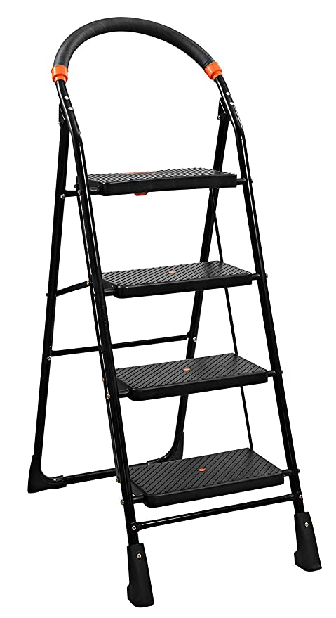 Parasnath Black Heavy Folding Ladder With Wide Steps Milano 4 Steps 4.1 Ft  Ladder (Made In India)  Amazon.in  Home Improvement eab13c1b7d