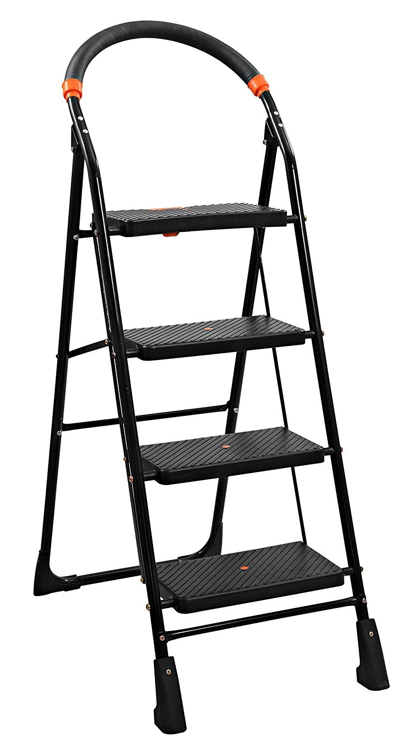 Parasnath Black Heavy Folding Ladder with Wide Steps Milano 4 Steps 4.1 Ft Ladder (Made in India) product image