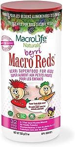 MacroLife Naturals MacroBerri Reds Drink Powder for Kids Organic Superfood Fruits & Veggies, Probiotics, Digestive Enzymes - Immune Boost - Non-GMO, Vegan, Gluten-Free, Non-Dairy - 7oz (32 Servings)