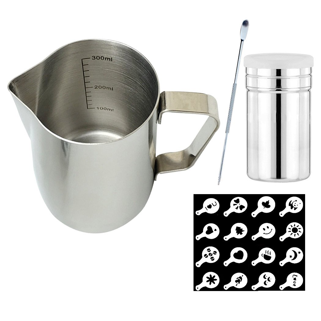 SIPLIV Coffee Art Tool Kit 12 Oz(350 ml) Stainless Steel Espresso Steaming Pitchers Milk Frothing Pitcher with Measurement Markings, Coffee Art Pen, Cocoa Powder Shaker, 16 Coffee Stencils