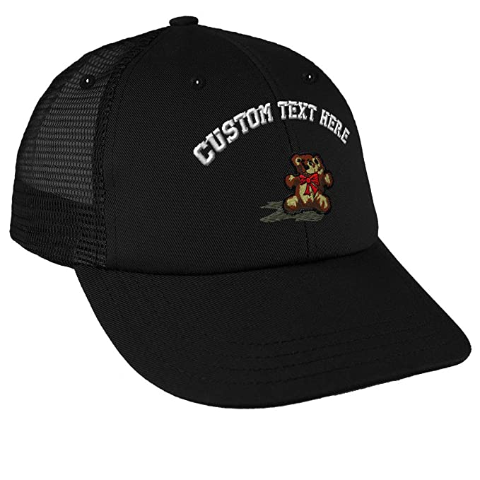 e9bd6ea889a39 Custom Text Embroidered Teddy Bear Unisex Adult Snaps Cotton Low Crown Mesh  Golf Snapback Hat Cap