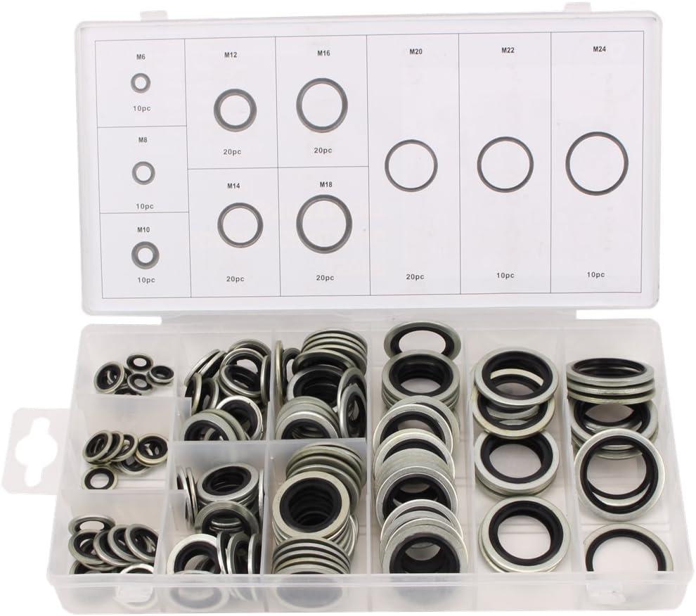 CCLIFE 150 tlg O-Ring Dichtungen Dichtungsringe Sortiment F/ür /Ölablass Schrauben Bonded Seal Dichtring M6-M24